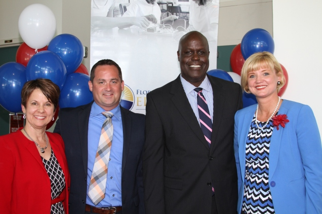 Pictured left to right: Diane McKee, the 2016 Florida Teacher of the Year; Dustin Sims, the 2015 Assistant Principal of the Year; Hershel Lyons, K-12 Public Schools Chancellor; and Angela Murphy-Osborne, the 2015 Principal of the Year.